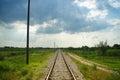 Straight rural railway long with vanishing point Stock Photo