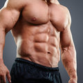 Strained chest and abs perfect muscular cropped image of muscular man standing isolated on grey background Royalty Free Stock Images