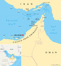 Strait of Hormuz, Abu Musa and the Tunbs Political Map Royalty Free Stock Photo