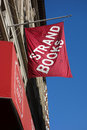 Strand books flag the outside its store in downtown manhattan founded in the bookstore is the only one that remains of the Royalty Free Stock Images