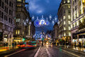 Strand in london at christmas uk th november a view along the night during the season showing the streets and decorations Royalty Free Stock Image