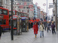 The strand london england uk march people strolling down high street known as during winter sales Royalty Free Stock Images