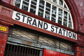 Strand underground station london united kingdom april london tube at which is now no longer in use Royalty Free Stock Photography