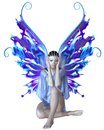 Strange fairy in blue with mystic skin markings a dress with and purple wings d digitally rendered illustration Royalty Free Stock Photo