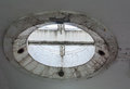 Strange and futuristic concrete round shape design on the ceiling. Royalty Free Stock Photo