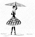 Strange girl in the rain on an white background is stylish lady Royalty Free Stock Photos