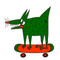 Strange green dog on the skateboard riding a Royalty Free Stock Image