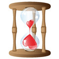 Strange hour glass two red hearts in an isolated against a white background Stock Image
