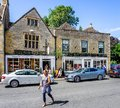 Strange leaning windows in historic cotswold town of Stow on the Wold Royalty Free Stock Photo