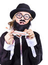 Strange looking woman black homburg trilby hat fake beard mustache broad rimmed glasses holding toy jet plane Stock Photo