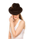 Stranger woman in hat with hidden eyes isolated on white Royalty Free Stock Images
