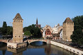 Strasbourg the confluence of the various arms of the ill river view from barrage vauban to pont couverts and petite france alsace Royalty Free Stock Photos