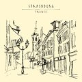 Strasbourg, France, Europe. Pedestrian street in old historic town. French architecture. Hand drawing. Travel sketch. Vintage Royalty Free Stock Photo