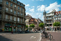 Strasbourg old town of strasborg france pl broglie square with view on societe air france building Stock Images