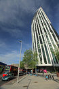 Strata tower in elephant and castle barclays bicycle docks front of building london Stock Photos