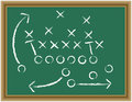 Strategic game plan sports strategy football on a blackboard Royalty Free Stock Image