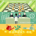 Strategic management business consulting money tree with coins watered from watering can investment concept partners sitting at Stock Photo