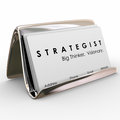 Strategist big thinker visionary business cards holder and words on a card stack in a as your tool to attract to your Royalty Free Stock Photography