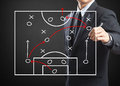Strategy of attacking game football coach writing Royalty Free Stock Photos