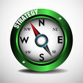 Strategy compass green with the pointer showing the word written with white letters business concept Stock Images