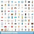 100 strategy icons set, cartoon style