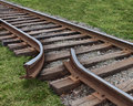 Strategy obstruction challenges with a train track that is broken as a business concept of a road block and finding solutions to Royalty Free Stock Images