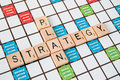 Strategy plan a game of scrabble with words and Stock Photography