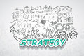 Strategy text, With creative drawing charts and graphs business success strategy plan idea, Inspiration concept modern design temp Royalty Free Stock Photo