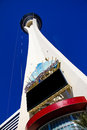 Stratosphere casino and hotel las vegas nv a look from ground level to the top of the in Stock Photography
