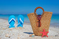 Straw bag on then sand shells seastar and sandals by the shore Stock Images