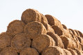 Straw bale stack close-up Royalty Free Stock Photos