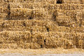 Straw bale stack detail in farm yard Royalty Free Stock Images