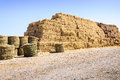 Straw bale stack farm pile in yard Stock Image