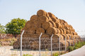 Straw bale stack farm yard Royalty Free Stock Photos