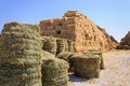 Straw bale stack in farm yard Stock Images