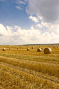 Straw bales and blue sky Royalty Free Stock Photo