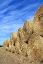Straw bales by edge of field stacked at the a on a clear day in autumn Stock Image