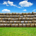 Straw bales on farmland with blue cloudy sky Royalty Free Stock Photography