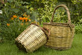 Straw baskets Stock Images