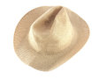 Straw hat close up on white background Stock Images