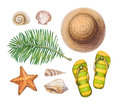 Straw hat, flip flops, shells and starfishes