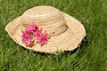 Straw hat, grass & flowers Stock Image