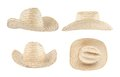 Straw hat isolated over white background set of four foreshortenings Stock Photo