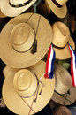 Straw hat made manually for sale on the market of the craft of chillan chile Stock Photography