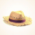 Straw hat old vintage retro style with filter effect Stock Photography