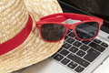 Straw hat, sunglasses Royalty Free Stock Photo