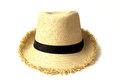 Straw hat withe black ribbon isolated on white background Royalty Free Stock Photos