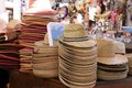 Straw hats at a market stall in Verona Royalty Free Stock Images