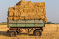 Straw hay bales on a trailer Royalty Free Stock Photo