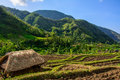 Straw house in mountain village, Amed, Bali Indonesia Royalty Free Stock Photo